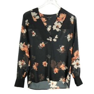 Marciano Top XS Black V-Neck Sheer Floral Print